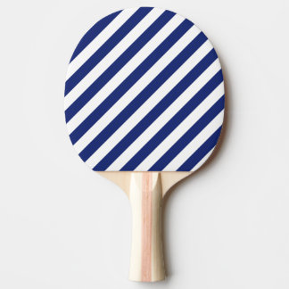 Navy Blue and White Diagonal Stripes Pattern Ping Pong Paddle