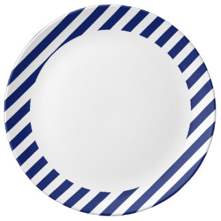 Navy Blue and White Diagonal Stripes Pattern Plate