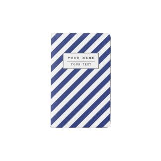 Navy Blue and White Diagonal Stripes Pattern Pocket Moleskine Notebook