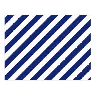 Navy Blue and White Diagonal Stripes Pattern Postcard
