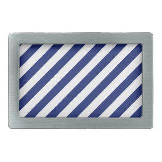 Navy Blue and White Diagonal Stripes Pattern Rectangular Belt Buckle