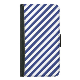 Navy Blue and White Diagonal Stripes Pattern Samsung Galaxy S5 Wallet Case