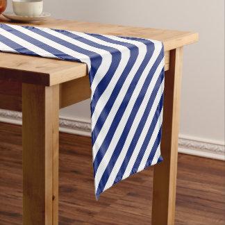 Navy Blue and White Diagonal Stripes Pattern Short Table Runner