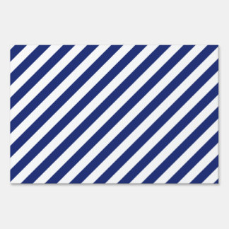 Navy Blue and White Diagonal Stripes Pattern Sign