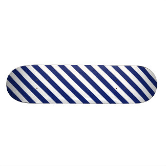 Navy Blue and White Diagonal Stripes Pattern Skate Boards