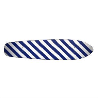 Navy Blue and White Diagonal Stripes Pattern Skateboard Decks