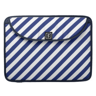 Navy Blue and White Diagonal Stripes Pattern Sleeve For MacBook Pro