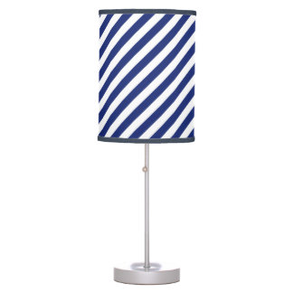 Navy Blue and White Diagonal Stripes Pattern Table Lamp