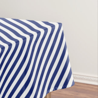 Navy Blue and White Diagonal Stripes Pattern Tablecloth