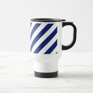 Navy Blue and White Diagonal Stripes Pattern Travel Mug