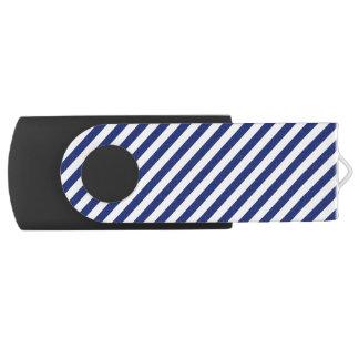 Navy Blue and White Diagonal Stripes Pattern USB Flash Drive