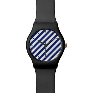 Navy Blue and White Diagonal Stripes Pattern Watch
