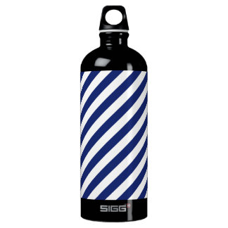 Navy Blue and White Diagonal Stripes Pattern Water Bottle