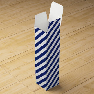 Navy Blue and White Diagonal Stripes Pattern Wine Gift Box