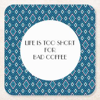 Navy Blue and White Diamond Argyle Coffee Coaster