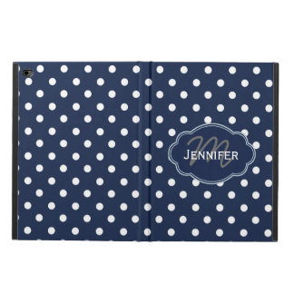 Navy Blue and White Dotted Personalized iPad Case