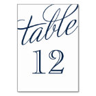 Navy Blue and White Elegant Script Table Numbers