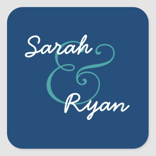 Navy Blue and White Envelope Seal Wedding Square Stickers