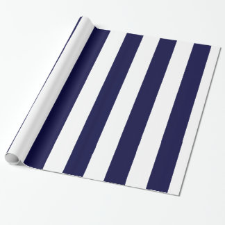 Navy Blue and White Extra Large Stripe Pattern
