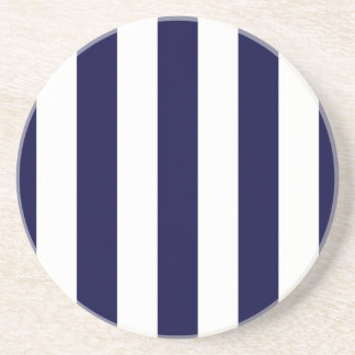 Navy Blue and White Extra Large Stripe Pattern Coaster