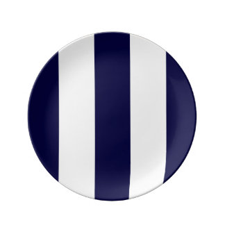 Navy Blue and White Extra Large Stripe Pattern Plate
