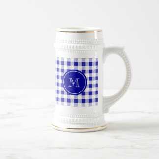 Navy Blue and White Gingham, Your Monogram Beer Stein