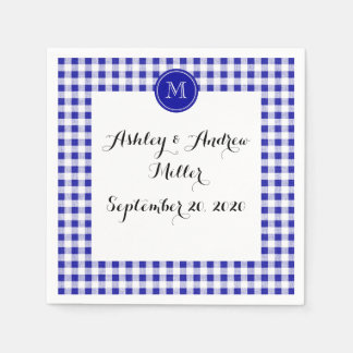 Navy Blue and White Gingham, Your Monogram Disposable Napkin