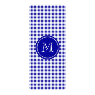 Navy Blue and White Gingham, Your Monogram 4x9.25 Paper Invitation Card