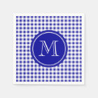 Navy Blue and White Gingham, Your Monogram Paper Napkin