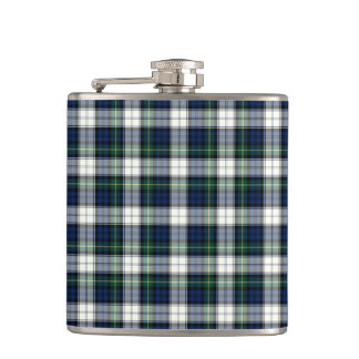Navy Blue and White Gordon Clan Formal Dress Plaid Flask