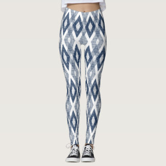 Navy Blue and White Grunge Harlequin Pattern Leggings