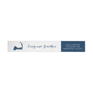 Navy Blue and White Harwich Port Cape Cod Wedding Wrap Around Label