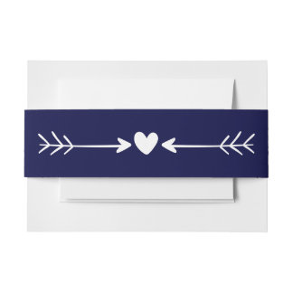 Navy Blue And White Heart & Arrows Wedding Invitation Belly Band