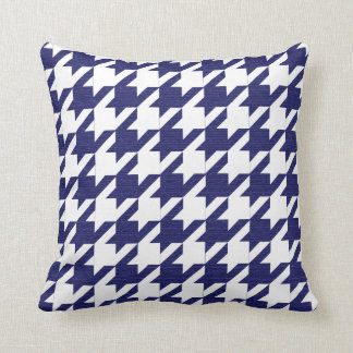 Navy Blue and White Houndstooth Pattern Throw Pillow