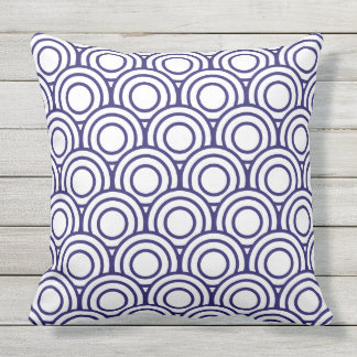 Navy Blue and White Japanese Geometric Circle Throw Pillow