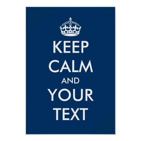 Navy blue and white Keep calm poster | Customize