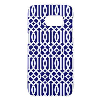 Navy Blue and White Modern Trellis Pattern Samsung Galaxy S7 Case