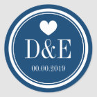 Navy blue and white monogram wedding favour classic round sticker