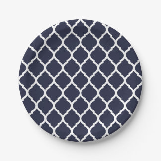 Navy Blue and White Moroccan Quatrefoil Paper Plate