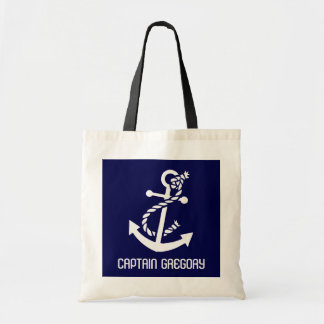 Navy Blue And White Nautical Anchor Tote Bag