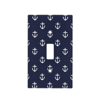 Navy Blue and White Nautical Anchors Light Switch Cover