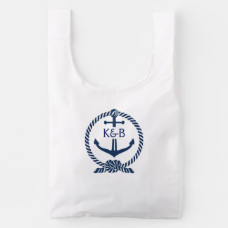 Navy Blue And White Nautical Boat Anchor