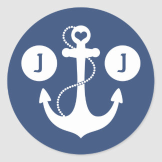 Navy Blue and White Nautical Monogram Classic Round Sticker