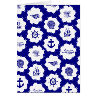 Navy Blue and White Nautical Pattern Card