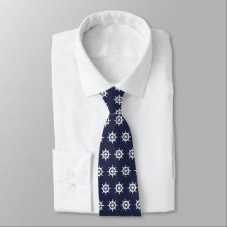 Navy blue and white nautical ship wheel neck tie