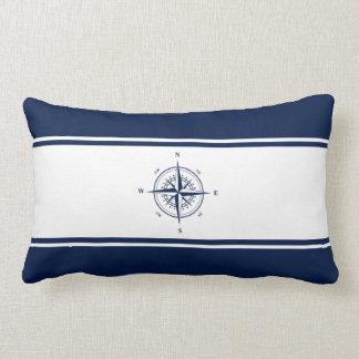 Navy Blue and White - Nautical Star Lumbar Pillow