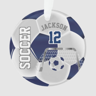 Navy Blue and White Personalize Soccer Ball Ornament