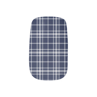 Navy Blue-and-White Plaid Nail Art