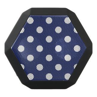 Navy Blue and White Polka Dot Pattern Black Bluetooth Speaker