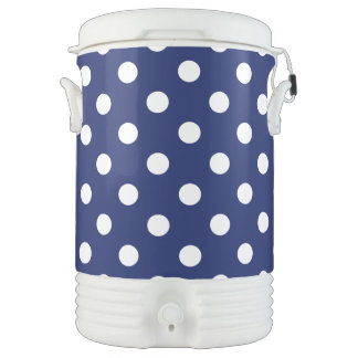 Navy Blue and White Polka Dot Pattern Drinks Cooler